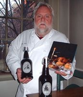 Walter Staib, proprietor of the City Tavern, with house brews by The Yards, PA