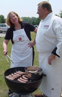 Chef Mike Zeller of Johnsonville Sausage, Sheboygan, WI, shows the best beer brat recipe